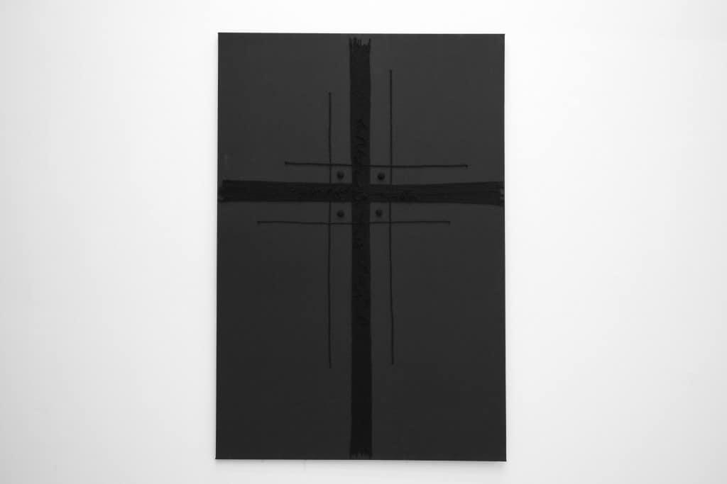 Blind Adam, Holy Cross, 2016, hand-knotted acrylic, wool, yarn, 215x145 cm